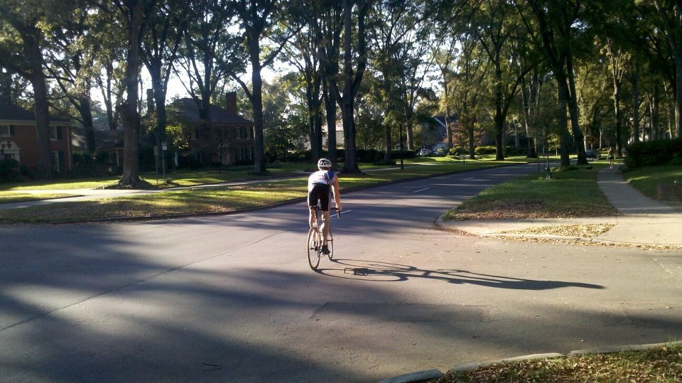 Matthew Paul Brown pictured cycling in Myers Park on Queens Road West