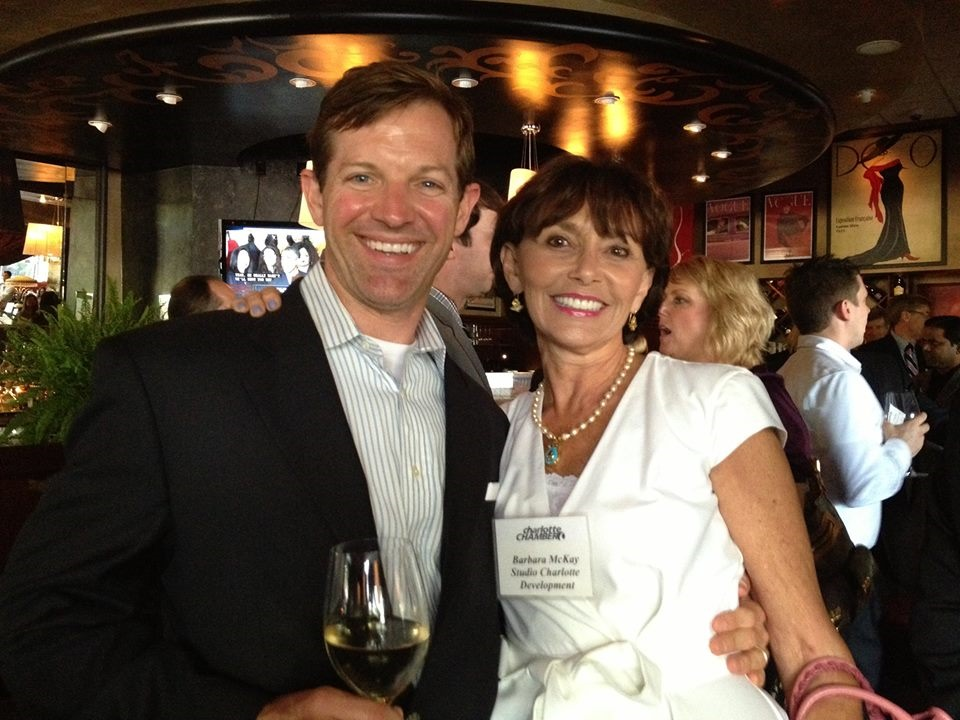 Matthew Paul Brown with friend, Barbara McKay at a Charlotte Chamber Business 5 after 5.